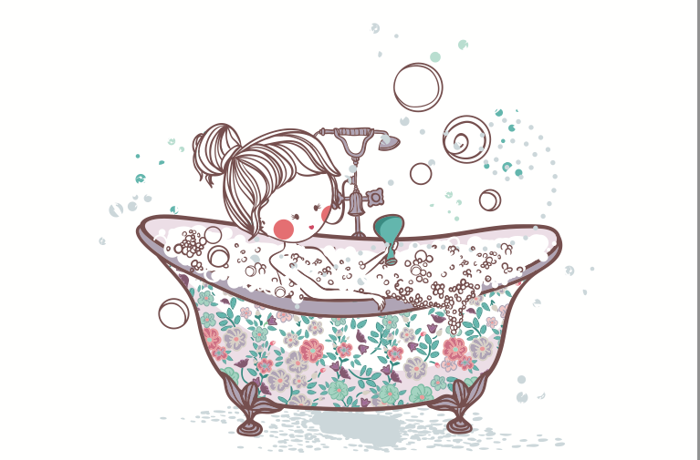 girl taking bath vector