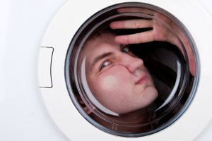 laundry man in a machine