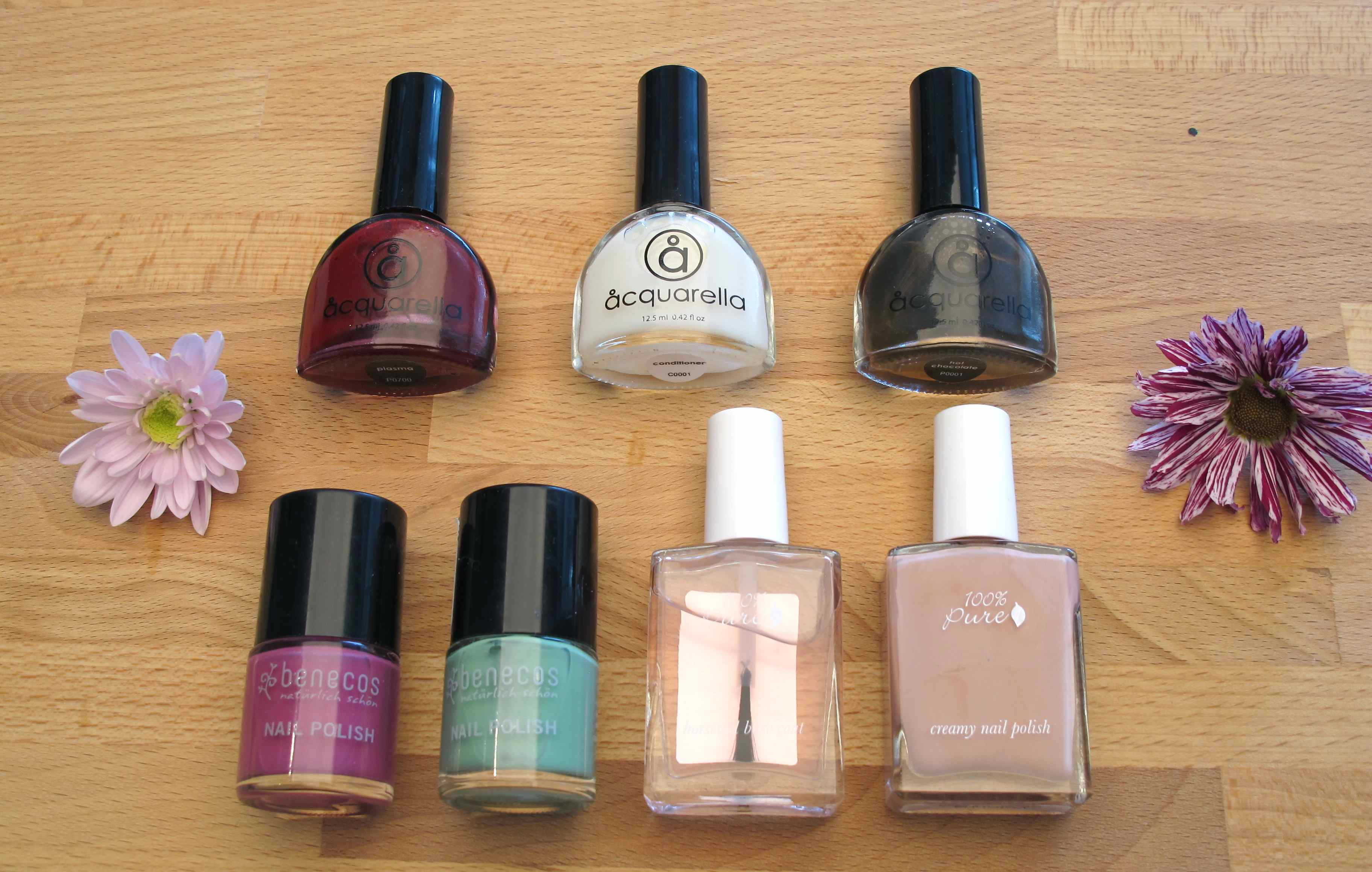 All nail laquers Benecos 100Pure Acquarella