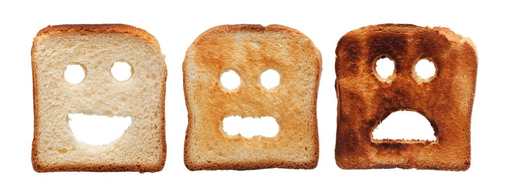 Sunburn tan concept on bread toast