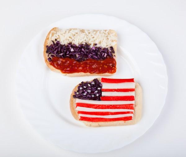 Russia USA food flags