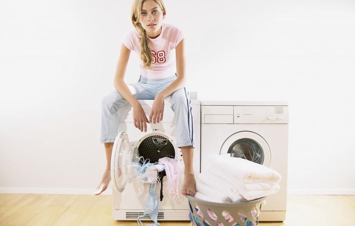 woman on a washing machine