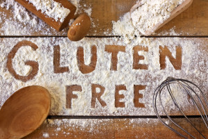 Gluten free flour whisk wooden spoon