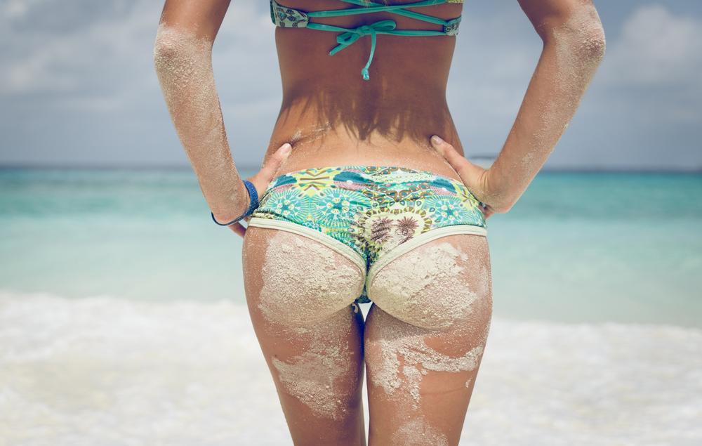 Cellulite girl beach summer sea