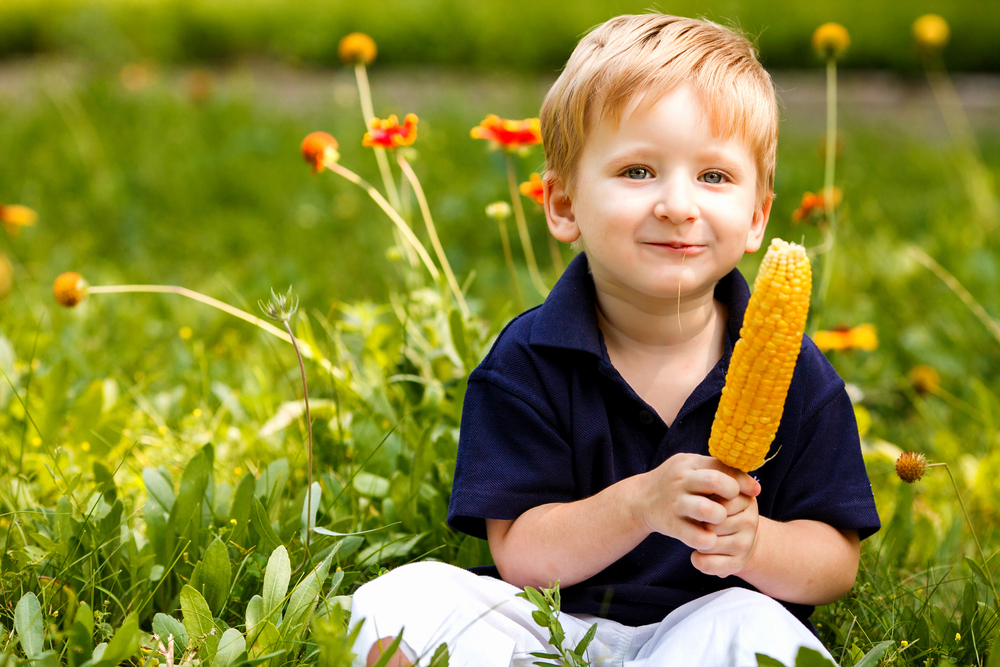 boy with corn