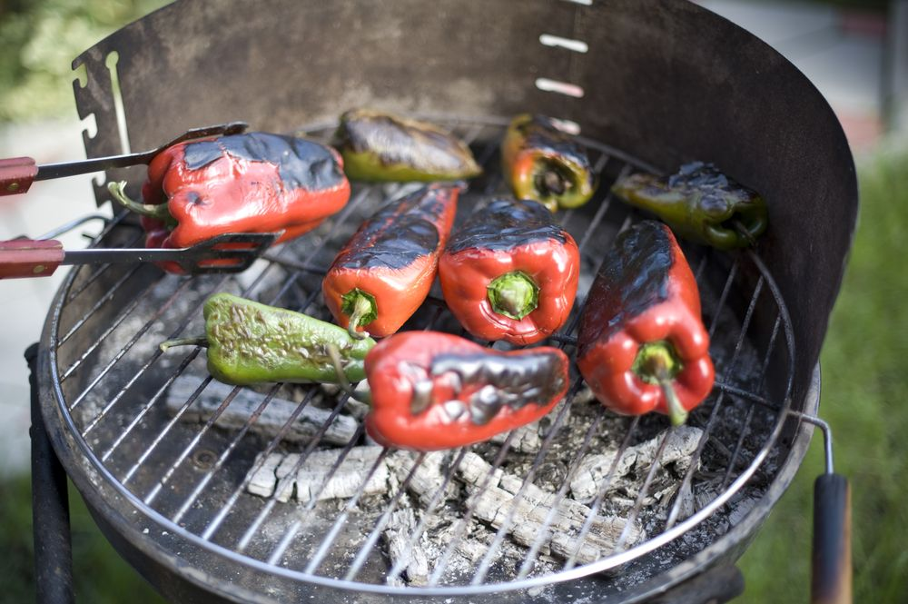 Red peppers on the grill