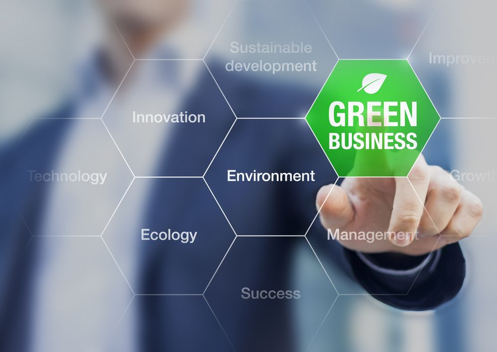 green business concept for sustainable development with businessman