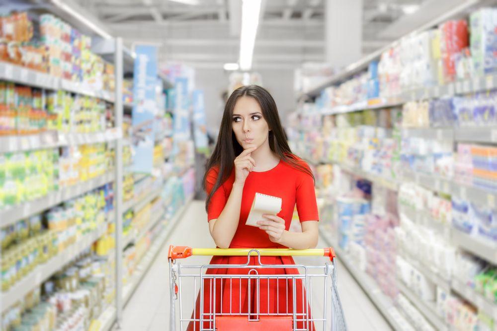 Woman Supermarket Shopping List eco bio