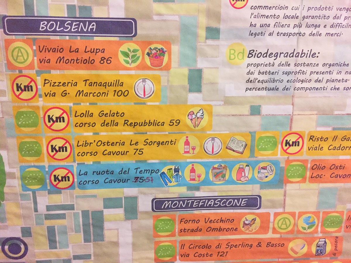 Карта местных экопроизводителей, ресторан в Больсене