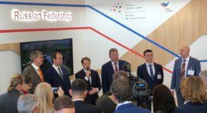 Открытие российского стенда на BioFach 2019, с микрофоном Алексей Гордеев
