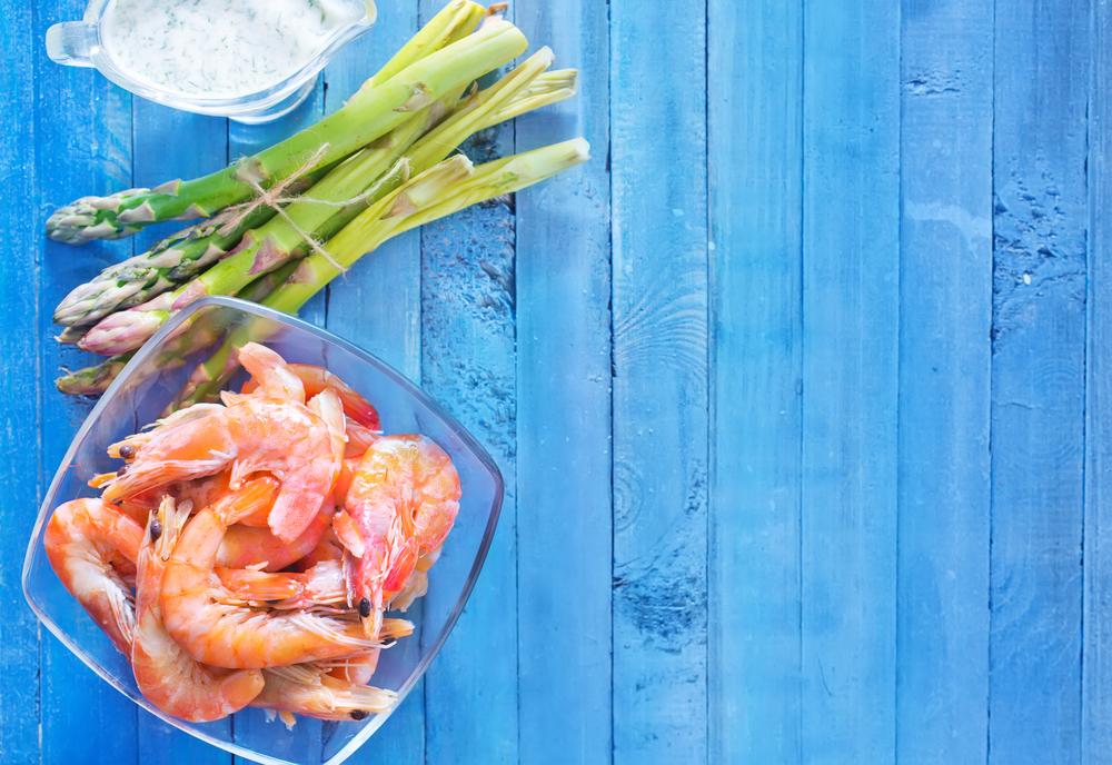 sparzha asparagus shrimp krevetka goluboy