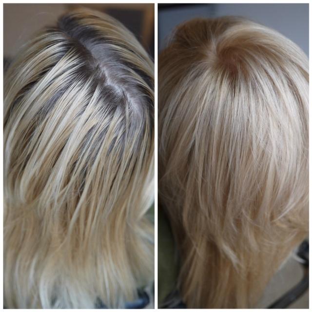 слева: волосы неоднократно окрашены аммиачным красителем + несколько раз безаммиачным. СПРАВА: после окрашивания Organic Colour Systems - корни и вся длина