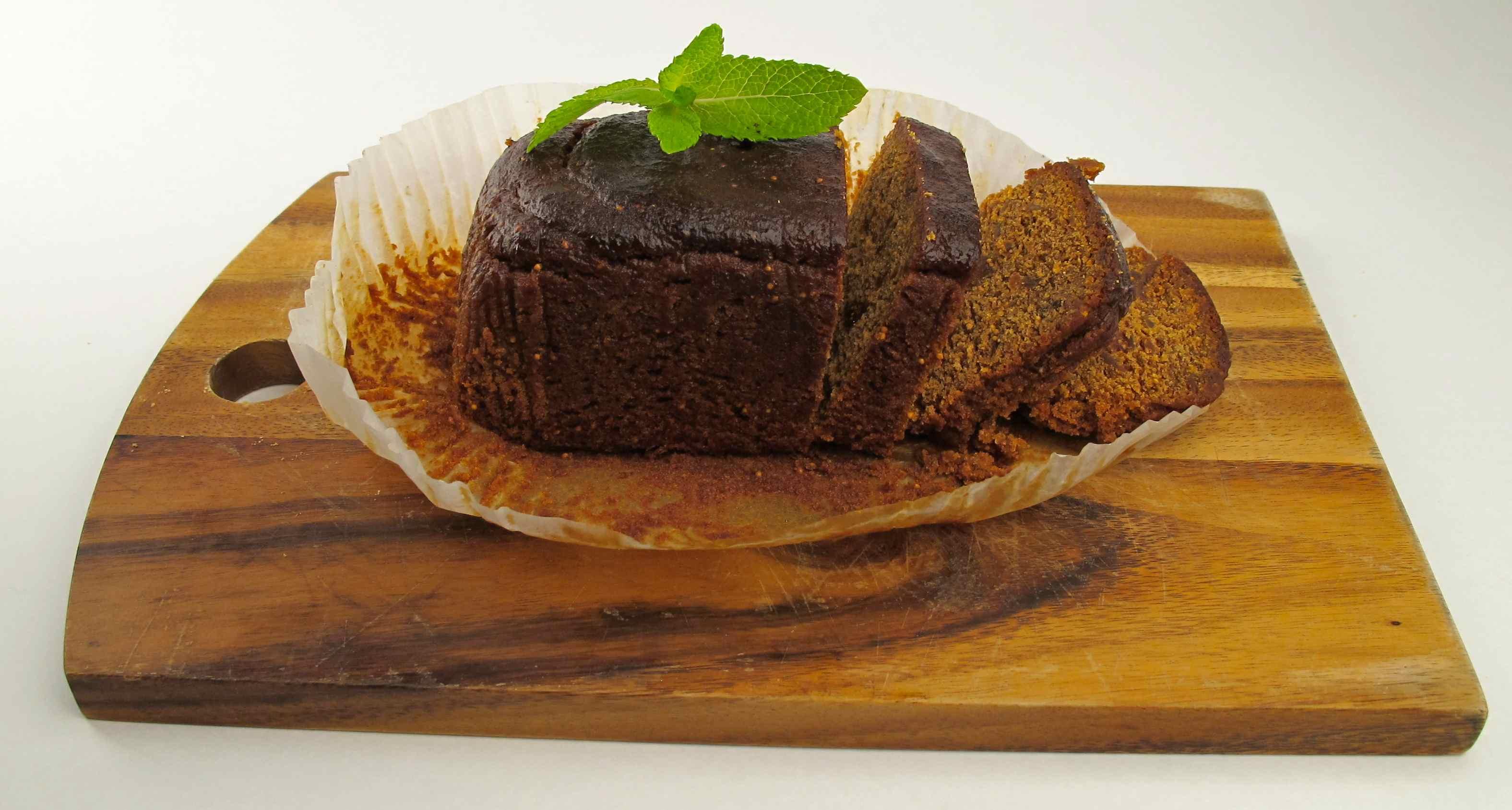 Fig and orange vegan cake inside