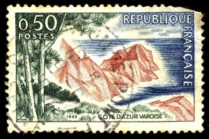 cote azur french stamp