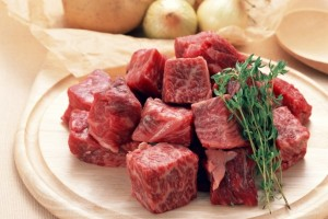 beef in chunks with herbs meat