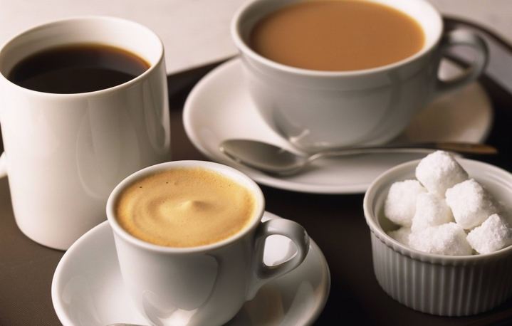 different types of coffee in cups with sugar