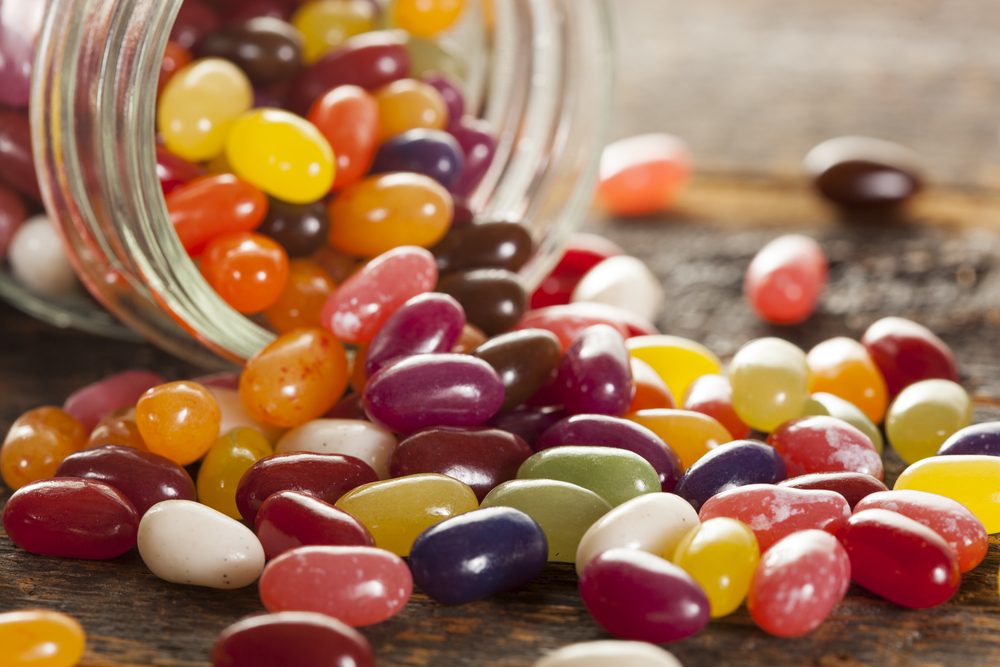 Jelly beans sweets candies in a jar