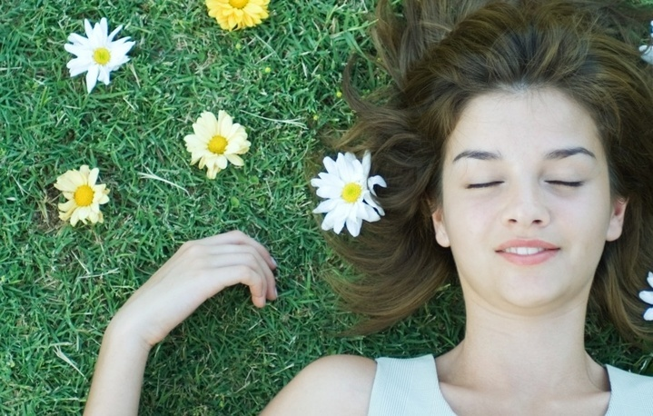 hair girl summer flowers grass