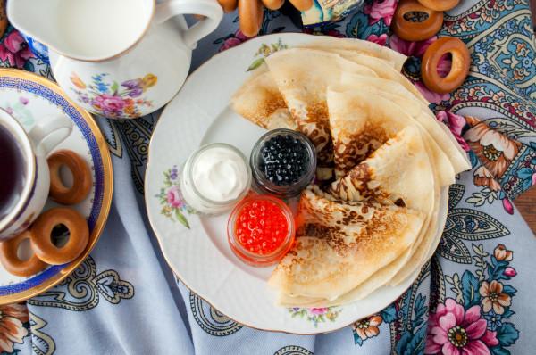 Russian food pancakes caviar baranki