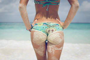 Cellulite girl beach summer sea