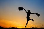 Woman with shopping bags jumps summer evening girl ballet field joy