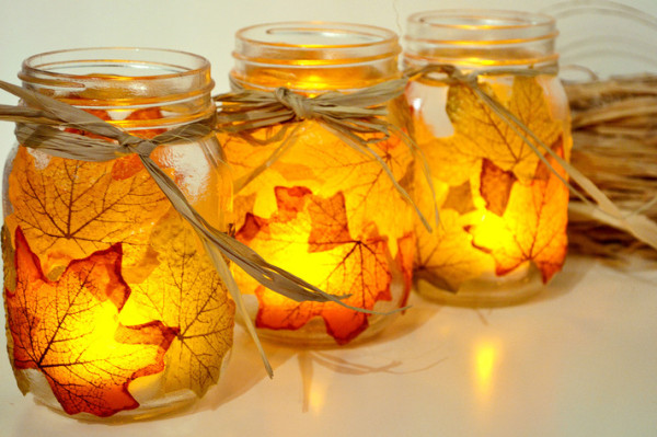 jar leaves candle fall