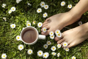 foot care grass relax flowers