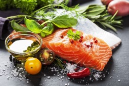 salmon fillet with aromatic herbs healthy food diet cooking