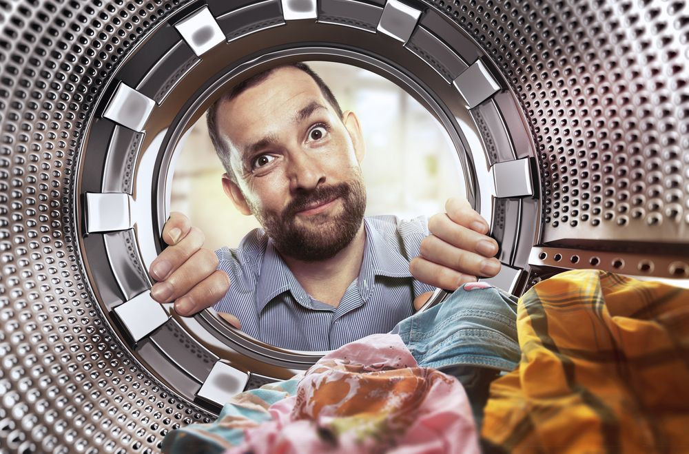 man view from washing machine inside