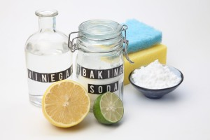 Homemade green cleaning baking soda vinegar and lemon