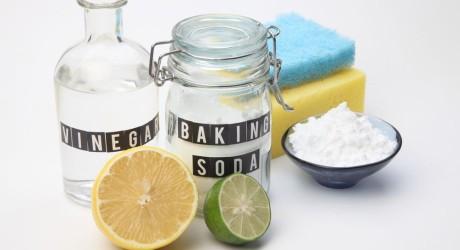 Homemade green cleaning baking soda vinegar and lemon