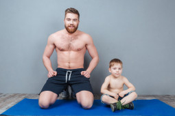 dad, yoga, kid, man