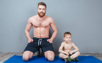 dad, yoga, kid, man