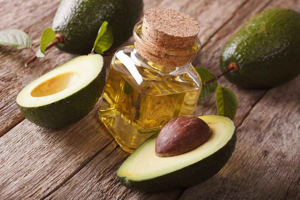 natural avocado oil in a glass bottle