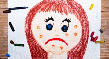 detskiy risunok devochka child's drawing girl with acne