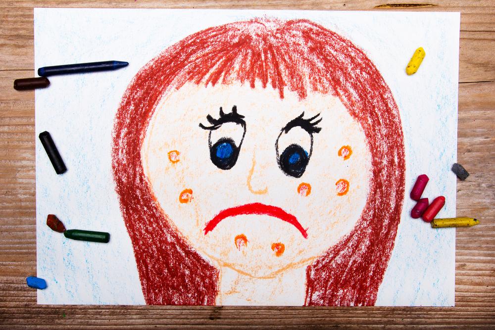detskiy risunok devochka child's drawing girl with acne