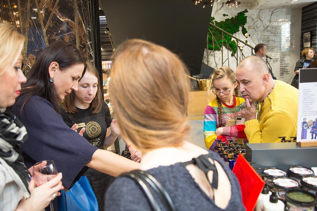 Андрей Трубников, Natura Siberica (справа) на открытии флагманского магазина на Тверской, 4
