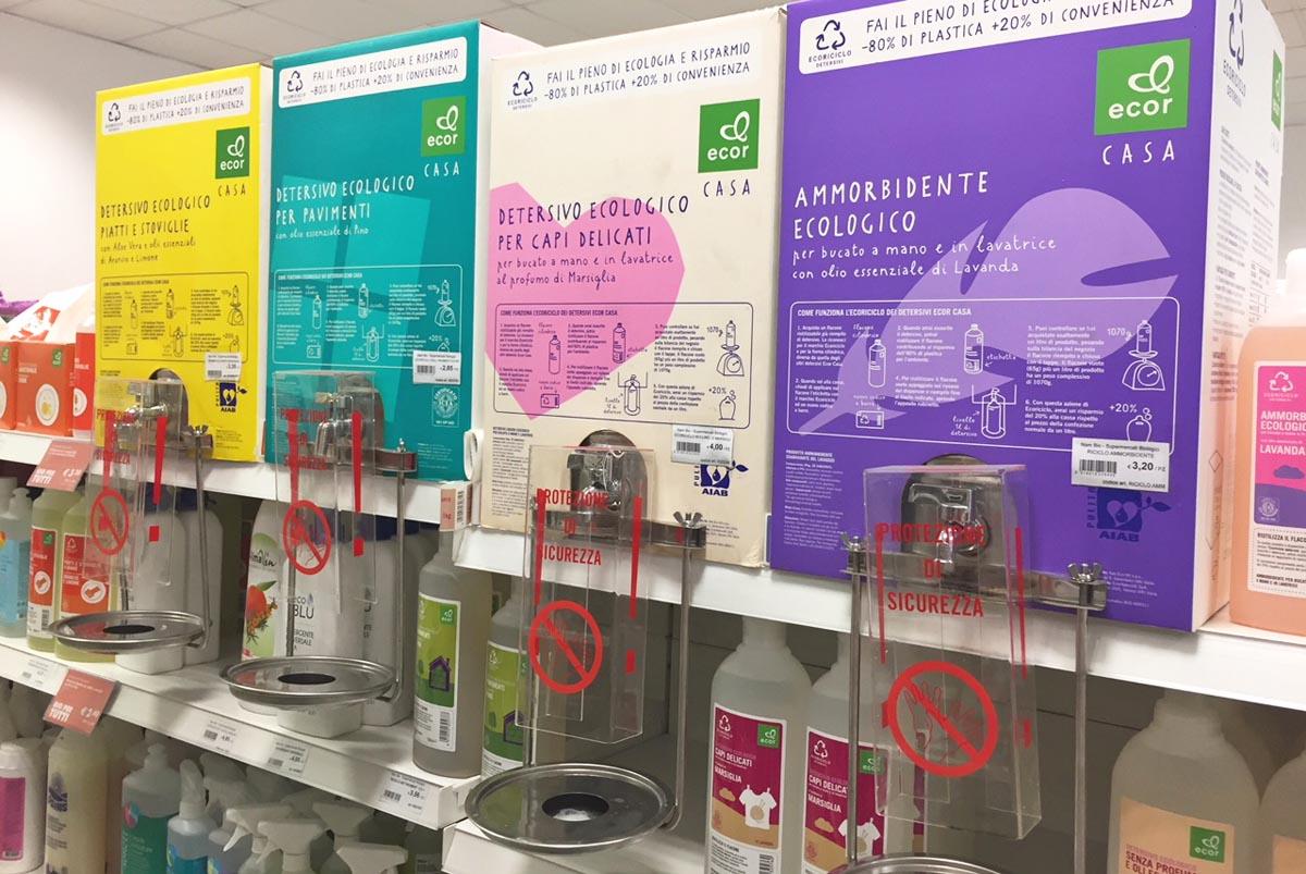 Экологичная бытовая химия Ecor в свою тару, биомагазин в Салерно