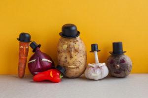 vegetables in hats