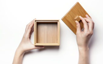 wooden box in hands