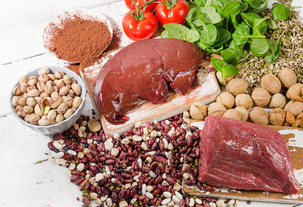 meat myaso pechen liver shpinat fasol zhelezo gemoglobin
